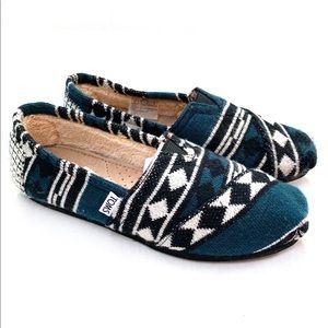 🌸🌵🌼Toms | Teal Knit Aztec Flats 6
